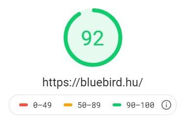 Bluebird weboldal teljesitmény