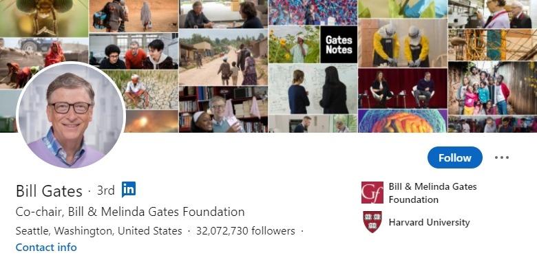 LinkedIn profil - Bill Gates - Bluebird blog