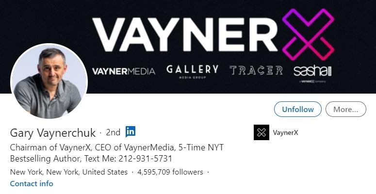 LinkedIn profil Gary Vaynerchuk - Bluebird blog