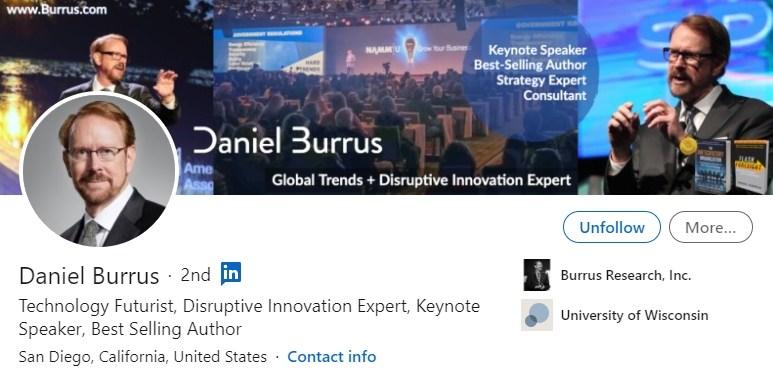LinkedIn profil - Daniel Burrus - Bluebird blog