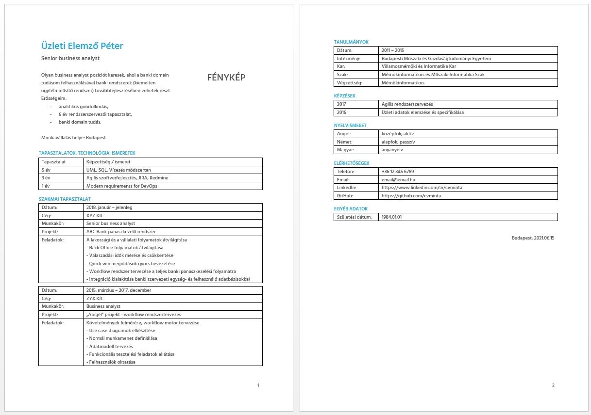 Önéletrajz tippek - CV minta - Bluebird
