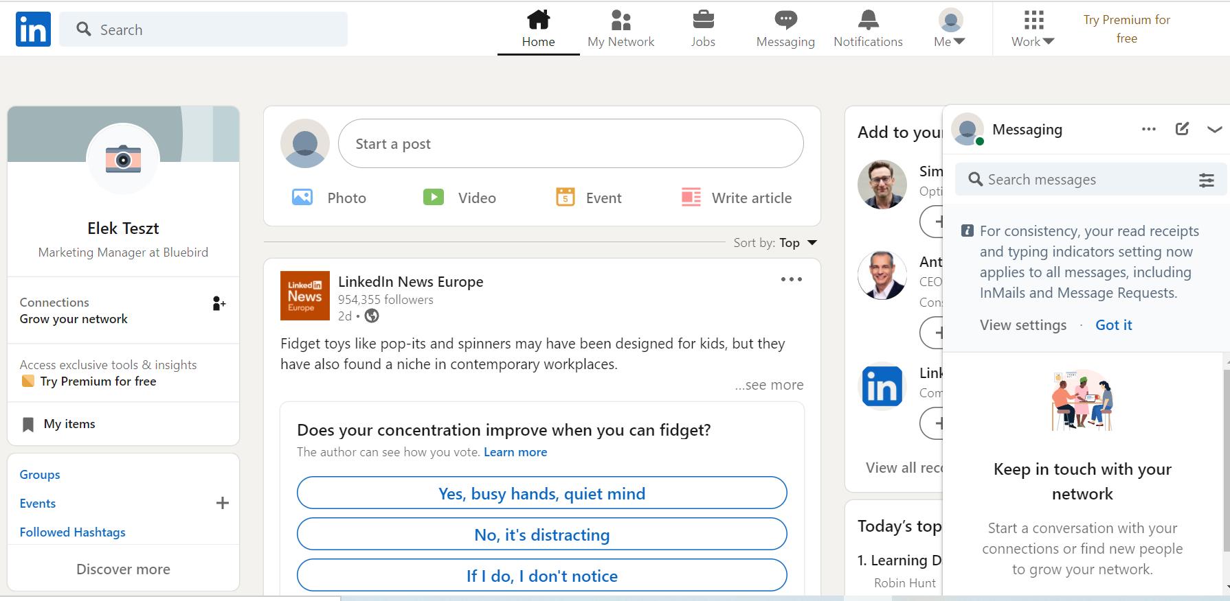 LinkedIn kezdőlap - Bluebird