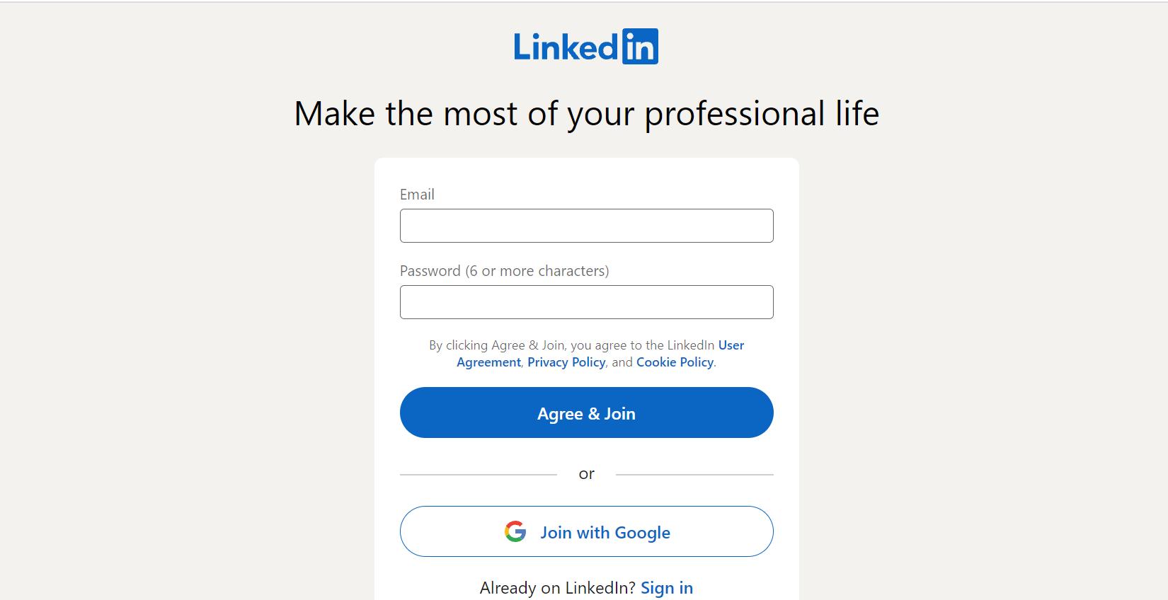 LinkedIn - Join us - email, jelszó megadása - Bluebird