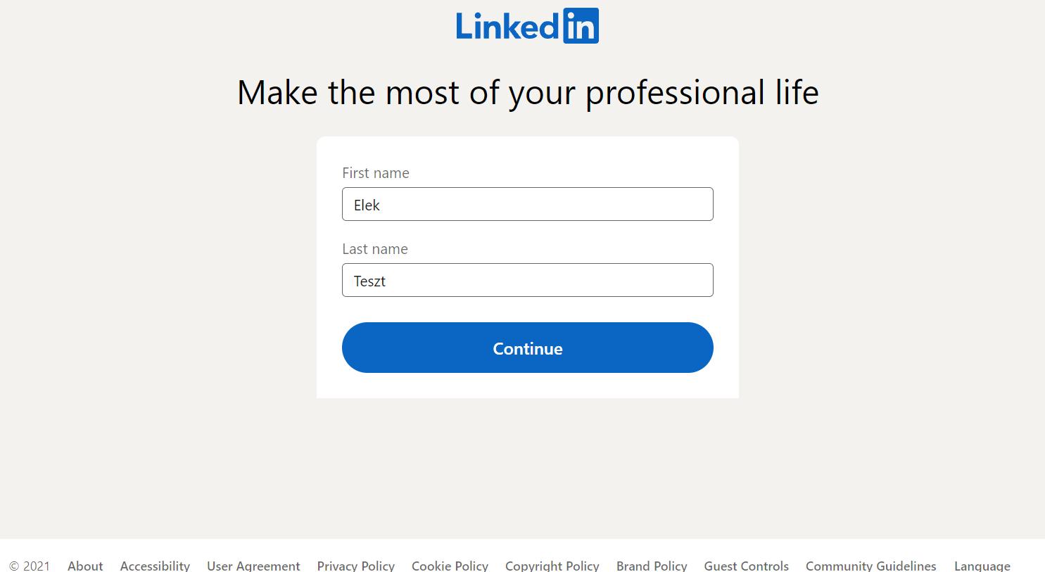 LinkedIn profil létrehozása - Bluebird