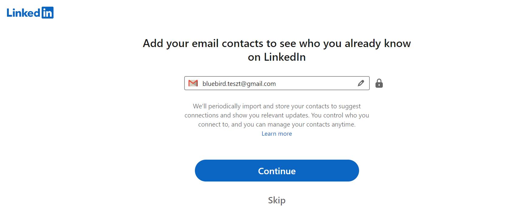 Email cím hozzáadása - Bluebird